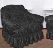 BLACK Jacquard Arm Chair Cover - Universal Elastic Fitting. a throw) HC