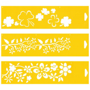Set of 3 - 30cm x 8cm Reusable Flexible Plastic Stencils for Cake Design Decorating Wall Home Furniture Fabric Canvas Decorations Airbrush Drawing Drafting Template - Flowers Leaves Wild Jasmine Clovers