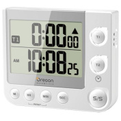 TW331 Dual Kitchen Timer with Clock & LED Alert - White