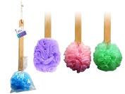 4pk 38cm Long Wooden Handle Back Scrubber Bath Shower Mesh Sponge Exfoliating Body Brush Wash Nylon Puff Spa