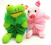 Kids Mesh Sponge Bath and Shower Loofah Pig and Frog