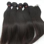 LaNova Beauty Human Hair Extension,Sliky Straight Hair Extention 4pcs 70cm and 1pc Lace Closure (4*4) 50cm , Natural Colour,5pcs/lot 100 Real Human Hair Weave