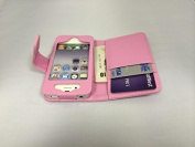Excellent Value Apple iPhone 4 4S Light Pink Wallet with Two Card Slots PU Leather Case Cover For Apple iPhone 4 4S