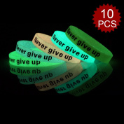 (Price/10 Pcs)GOGO Never Give Up Silicone Wristbands, Glow-in-the-dark Rubber Bracelets, Party Favours