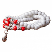 Tibetan Buddhist 108 Fimo White Beads Prayer Necklace Meditation Mala Bracelet with Pendant