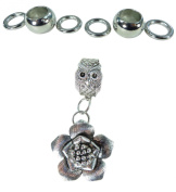 flower DIY scarf jewellery pendant slide bail rings set. Alloy charm tube CCB beads accessory findings for scarf jewellery necklace making.