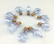 10pcs Shaped Lavender Glass Bottle Set Vial Miniature with Cork Stopper and Eyehook