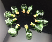 10pcs Shaped Green Glass Bottle Set Vial Miniature with Cork Stopper and Eyehook