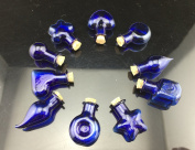 10pcs Shaped Sapphire Royal Blue Glass Bottle Set Vial Miniature with Cork Stopper and Eyehook