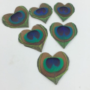 10pcs Heart Shape Peacock Eye Feathers for Wedding Invitation Table Centrepiece DIY Scrapbook or Hairpieces