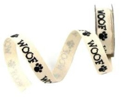 Mini Spool - Dog Woof Paw Print Twill Ribbon - 1.8m