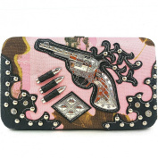 Black Rhinestones Large Pistol and Bullets Chequebook Clip Flat Wallet, Extra Chequebook.