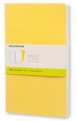 Moleskine Volant Journal (Set of 2), Large, Plain, Sunflower Yellow, Brass Yellow, Soft Cover