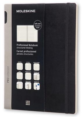 Moleskine Pro Collection Professional Notebook, Extra Large, Black, Soft Cover (7.5 X 10)