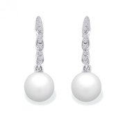 9 mm Freshwater Cultured Pearl and 0.12 carat total weight diamond accent Earring in 14KT White Gold