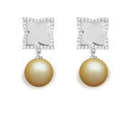 9 mm South Sea Cultured Pearl and 0.384 carat total weight diamond accent Earring in 14KT White Gold