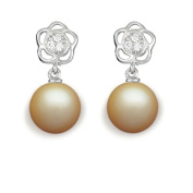 9 mm South Sea Cultured Pearl and 0.06 carat total weight diamond accent Earring in 14KT White Gold