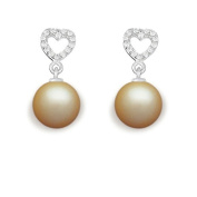 9 mm South Sea Cultured Pearl and 0.168 carat total weight diamond accent Earring in 14KT White Gold