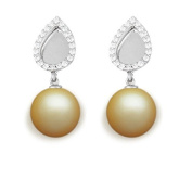 9 mm South Sea Cultured Pearl and 0.24 carat total weight diamond accent Earring in 14KT White Gold