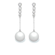 9 mm South Sea Cultured Pearl and 0.222 carat total weight diamond accent Earring in 14KT White Gold
