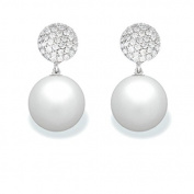9 mm Freshwater Cultured Pearl and 0.302 carat total weight diamond accent Earring in 14KT White Gold