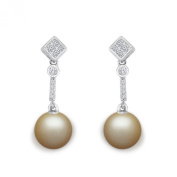 9 mm Golden South Sea Cultured Pearl and 0.3 carat total weight diamond accent Earring in 14KT White Gold