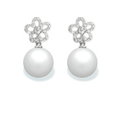 9 mm South Sea Cultured Pearl and 0.308 carat total weight diamond accent Earring in 14KT White Gold