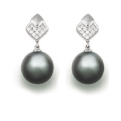 9 mm Tahitian Cultured Pearl and 0.096 carat total weight diamond accent Earring in 14KT White Gold