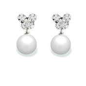 9 mm Freshwater Cultured Pearl and 0.288 carat total weight diamond accent Earring in 14KT White Gold