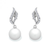 9 mm Akoya Cultured Pearl and 0.2 carat total weight diamond accent Earring in 14KT White Gold