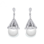 9 mm White South Sea Cultured Pearl and 0.45 carat total weight diamond accent Earring in 14KT White Gold