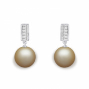 9 mm Golden South Sea Cultured Pearl and 0.33 carat total weight diamond accent Earring in 14KT White Gold