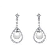 9 mm White South Sea Cultured Pearl and 0.5 carat total weight diamond accent Earring in 14KT White Gold