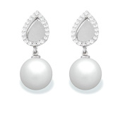 9 mm Freshwater Cultured Pearl and 0.24 carat total weight diamond accent Earring in 14KT White Gold