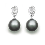 9 mm Tahitian Cultured Pearl and 0.086 carat total weight diamond accent Earring in 14KT White Gold