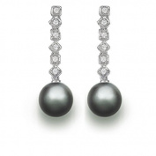 9 mm Tahitian Cultured Pearl and 0.18 carat total weight diamond accent Earring in 14KT White Gold