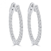 1.45 ct Ladies Round Cut Diamond Hoop Earrings In 14 Kt White Gold