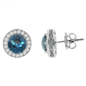 14K White Gold Natural London Blue Topaz Halo Earrings with Diamond Accent, 0.6cm wide