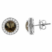 14K White Gold Natural Smoky Topaz Halo Earrings with Diamond Accent, 0.6cm wide