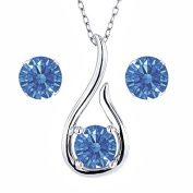 Carlo Bianca Fancy Blue 925 Sterling Silver Pendant Earrings Set Made With. Zirconia