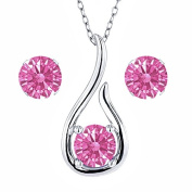 Carlo Bianca Pink 925 Sterling Silver Pendant Earrings Set Made With. Zirconia