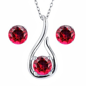 Carlo Bianca 925 Sterling Silver Pendant Earrings Set Blazing Red Natural Topaz Cut by.
