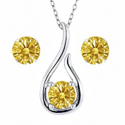 Carlo Bianca Golden Yellow 925 Sterling Silver Pendant Earrings Set Made With. Zirconia