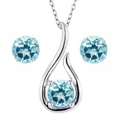 Carlo Bianca 925 Sterling Silver Pendant Earrings Set Ice Blue Natural Topaz Cut by.