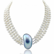 """3-row White A Grade Freshwater Cultured Pearl Necklace with Shell Clasp (6.5-7.5mm), 16.5"""", 17""""/18"""""""