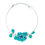 Memory Wire Turquoise-Pearl Floral Bouquet Jewellery Set