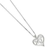 Sterling Silver Diamond Mom Necklace - 41cm Long