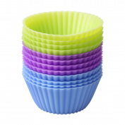 Delidge 12-pack Reusable Silicone Baking Cups Muffin DIY Moulds