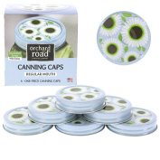 Canning Lids - Decorative Caps Fit Regular Mouth Mason Jars - Wild Daisy Design - Pack of 6