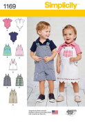 Simplicity Patterns US1169A Babies' Overalls, Jumper and Bodysuit, A